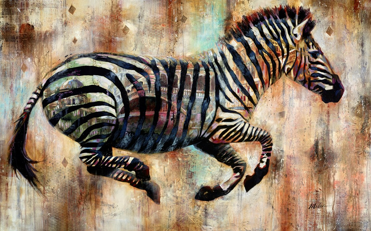 Zebra, Venice by john and elli milan -  sized 48x30 inches. Available from Whitewall Galleries